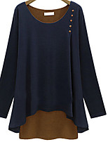Women's Solid Multi-color/Gray T-shirt , Round Neck Long Sleeve Button/Layered