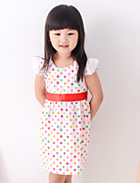 Girl's Summer Simple Polka-dots Sleeveless Dresses (Cotton Blends)