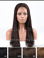 Silky Straight Remy Indian Human Hair Full Hand Tied Lace Wigs with Baby Hair