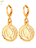 U7® Women's Vintage European Queen Jewelry Coins Gold Earrings 2015 Fashion Platinum/18K Gold Plated Drop Earrings