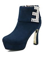 Scarpe Donna Finto camoscio A stiletto Plateau/Punta arrotondata/Stivali Stivali Formale Nero/Blu/Borgogna