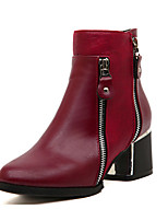 Women's Shoes  Flat Heel Bootie Boots Casual Black/Burgundy