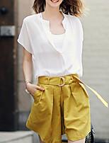 Women's Sexy Casual Cute Plus Sizes Inelastic Short Sleeve Regular  Suit (Chiffon)