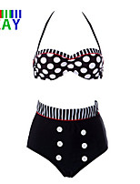ZAY Women's Sexy Vintage Push-up High Rise/Dot Halter Bikinis