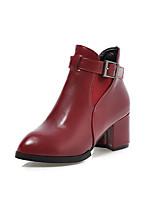 Damenschuhe - Stiefel - Büro / Kleid / Lässig - Kunstleder - Blockabsatz - Spitzschuh / Modische Stiefel - Schwarz / Rot