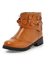 Zapatos de mujer - Tacón Bajo - Punta Redonda / Botas a la Moda - Botas - Oficina y Trabajo / Vestido / Casual - Semicuero -Negro /