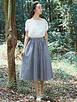 Women's Casual/Cute/Party/Work Inelastic Medium Midi Skirts Preppy Chic(Cotton/Linen)