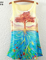Women's Multi-color T-shirt Sleeveless
