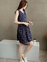 Women's Sexy Casual Print Cute Plus Sizes Micro-elastic Sleeveless Above Knee Maternity Dress (Cotton)