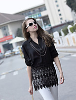 Women's Patchwork White/Black Shirt , Shirt Collar Long Sleeve Lace