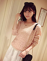 Women's New Fashion Hollow Out Thin Long Sleeve Loose Pullover