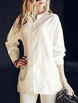 Women's Sexy Casual Cute Plus Sizes Inelastic Long Sleeve Regular Shirt (Chiffon)