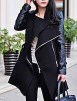 Women's Solid Black/Brown Coat , Casual Long Sleeve Polyester