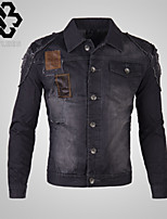 WHAT LEES Men's Casual Pure Long Sleeve Regular Jacket