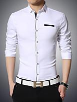 Men's Casual/Work Pure Long Sleeve Regular Cotton)