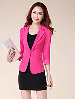 Women's Solid/Lace Pink/Red/White/Black/Yellow Blazer , Sexy/Party Shirt Collar Long Sleeve