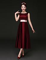 Tea-length Satin Bridesmaid Dress - Burgundy A-line Bateau