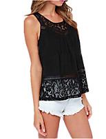 Women's Sexy Lace Cute Plus Sizes Inelastic Sleeveless Regular Shirt (Lace)