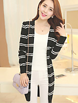 Women's Striped Blue/Pink/White/Black Cardigan , Casual Long Sleeve