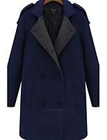 Women's Patchwork Blue/Gray Coat , Casual/Plus Sizes Long Sleeve Tweed Pocket
