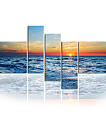Seascape photographique plage de l'art mur de toile toiles tendues cinq panneaux toile de haute qualité prêt à accrocher