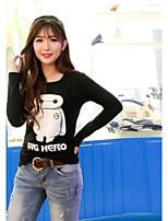 De las mujeres Camiseta Escote en Pico - Algodón - Manga Larga