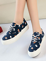 Women's Shoes Canvas Platform/Creepers/Round Toe Fashion Sneakers Casual Black/Dark Blue/White
