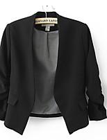 Women's Solid Pink/Red/Black/Yellow Blazer , Casual/Work Shirt Collar Long Sleeve