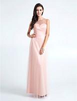 Floor-length Tulle Bridesmaid Dress - Pearl Pink Plus Sizes / Petite Sheath/Column Jewel