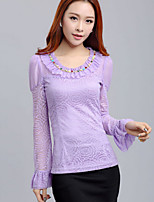 Women's Solid White/Purple T-shirt , Round Neck Long Sleeve