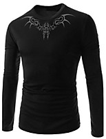Men's Long Sleeve T-Shirt , Cotton Casual/Sport Print