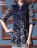Women's Print Blue Blouse ½ Length Sleeve