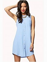 Women's Beach/Casual/Cute/Party/Work Micro-elastic Sleeveless Long Blouse (Cotton Blends)