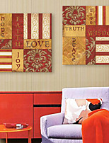 E-HOME® Stretched Canvas Art Letters And Vintage Patterns Decorative Painting  Set of 2
