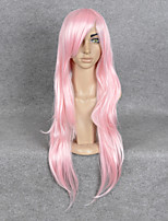 Women Synthetic Long Curly Wig Pink Hair 22 Inch