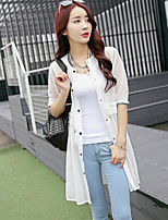 Women's Solid White/Black Coat , Casual ½ Length Sleeve Chiffon