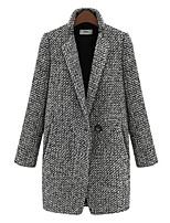 Women's Check Gray Coat , Vintage/Work Long Sleeve Wool Blends Criss-Cross