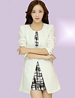 Women's Solid White/Orange Blazer , Casual/Work Off Shoulder Long Sleeve