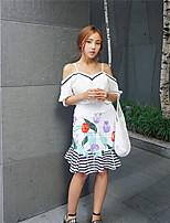 Women's Casual Inelastic ½ Length Sleeve Regular Blouse (Cotton)