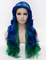 High Quality Blue to Green Ombre Hair Sexy Club Cosplay Wig Long Length Body Wave Heat Resistant