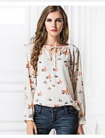 Women's Floral Beige Blouse , Round Neck Long Sleeve