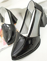 Women's Shoes Faux Leather Chunky Heel Heels/Pointed Toe Pumps/Heels Casual Black/White