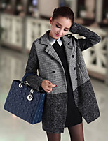 Women's Casual Thick Long Sleeve Long Coat (Tweed/Polyester/Wool Blends)
