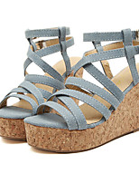Women's Shoes Denim Platform Wedges Sandals Casual Blue