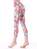 3/4 calças justas (Vermelho/Azul) - Mulheres - Respirável/Secagem Rápida/wicking