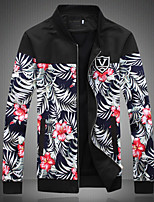 Men's Long Sleeve Jacket , Cotton/Polyester Casual/Work/Formal/Sport/Plus Sizes Print/Pure