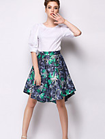Women's Print Red/Green Skirts , Casual Above Knee