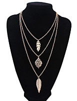 Women's European Style Fashion Multilayer Leaves Alloy Necklace