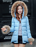 Women's Casual Fur Collar Thick Long Sleeve Regular Cotton Coat