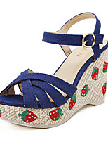 Women's Shoes Fabric Wedge Heel Comfort/Open Toe Sandals Casual Blue/White